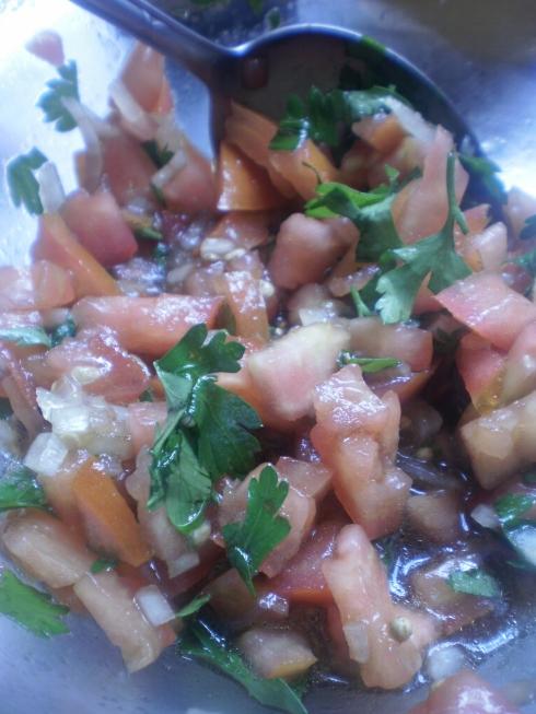 Mistura de tomate, cebola e salsinha